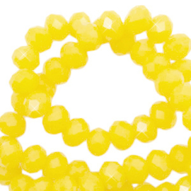 Facet kralen top quality disc 6x4 mm Marigold yellow-pearl shine coating , 72258 10 st.