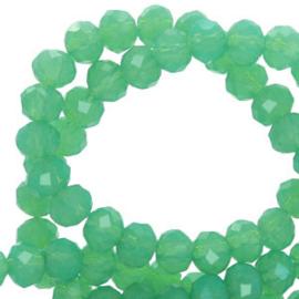 Facet kralen top quality disc 4x3 mm Green opal-pearl shine coating 62476 10 stuks