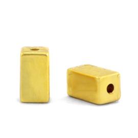 Kralen van hematite tube gold 5 st 68747