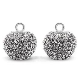 Bedels pompom glitter met oog 12mm Black silver-silver