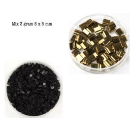 Mix Miyuki tila 5x5 mm metallic dark bronze 457 / opaque black 401