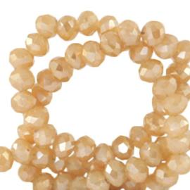 Facet kralen top quality disc 4x3 mm Peachy beige-half gold shine coating 64241 10 stuks