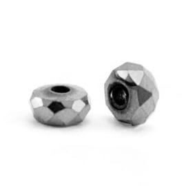 Kralen van hematite disc facet  Antraciet grey 10 st 63186