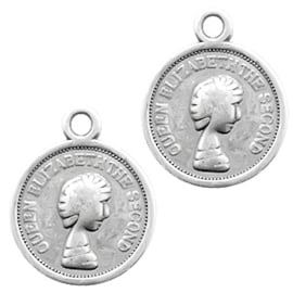 DQ metaal bedel munt 13mm Antiek zilver (nikkelvrij)