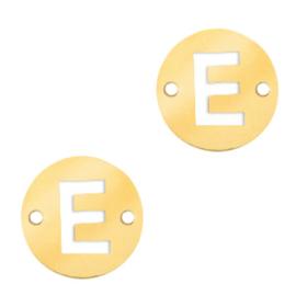 Bedel van  (RVS) 10mm initial coin E Goud tuseenzetsel