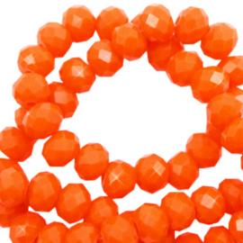 Facet kralen top quality disc 4x3 mm Saffron orange-pearl shine coating 65608 10 stuks