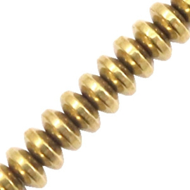 Kralen van hematite disc Gold 10 st 58618