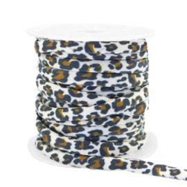 Elastisch stitched lint leopard White-brown 70999 50cm