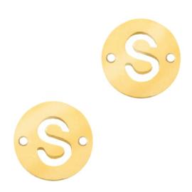 Bedel van  (RVS) 10mm initial coin S Goud tussenzetsel