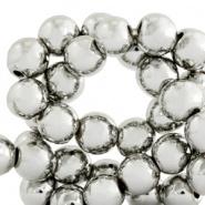 Kralen hematite rond 4mm metall coating Antiek zil  ver 10 st 45379