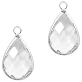 Hanger van crystal glas druppel 10x14mm Transparent crystal-silver Per stuk
