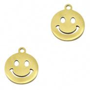 Roestvrij staal (RVS) smiley Goud per stuk