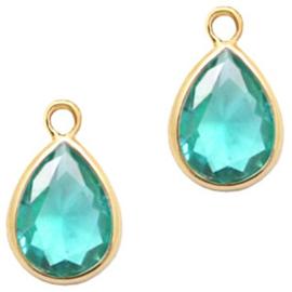 Hanger van crystal glas druppel 6x8mm Emerald blue zircon crystal-gold Per stuk