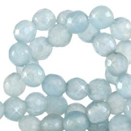 4 mm kralen natuursteen rond facet geslepen Dusk Blue Opal 64480 Per 10 st.