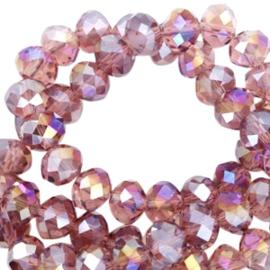 Facet kralen top quality disc 8x6 mm Soft aubergine-diamond high shine coating 46820 10 st.