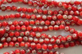 Millefiori Kralen red 8 mm per 10 stuks