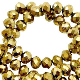 Facet kralen top quality disc 4x3 mm Crystal dorado gold metallic 70204 10 st.