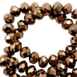 Facet kralen top quality disc 6x4 mm Gold metallic-pearl shine coating, 64223 10 st.