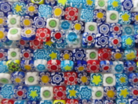 Millefiori Kralen Vierkant plat 8 mm per 10 stuks