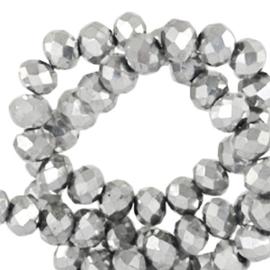 Facet kralen top quality disc 6x4 mm Silver metallic-pearl shine coating, 64211 10 st.