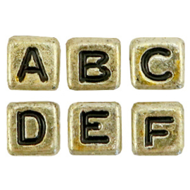 Acryl letterkralen mix Gold-black, 100 st.