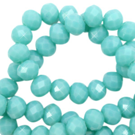 Facet kralen top quality disc 6x4 mm Tiffany blue-pearl shine coating 65586 10 st