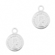 Metaal bedels DQ muntje 8mm Antiek zilver 4 st.  (nikkelvrij)