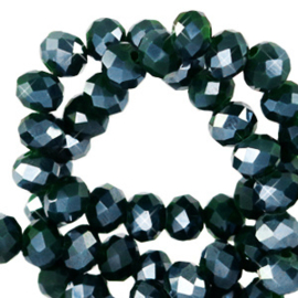 Facet kralen top quality disc 8x6 mm Eden green-pearl shine coating 64182 10 st.
