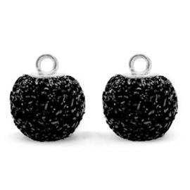 Bedels pompom glitter met oog 12mm Black-silver