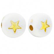Acryl letterkralen star White-gold per 10 st.