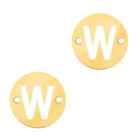 Bedel van  (RVS) 10mm initial coin W Goud tussenzetsel
