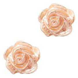 Roosje kralen 6mm Wit-peach nougat pearl shine 5 stuks