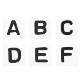 Letterkralen mix wit zwart 100 st
