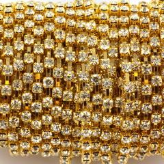 Strass Schakelketting goud 2.7 mm 20 cm