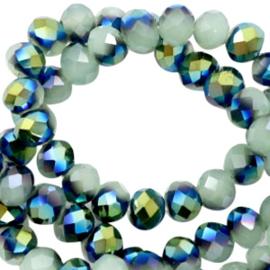 Facet kralen top quality disc 6x4 mm Greenish grey-half blue gold pearl shine coating, 10 stuks 46802