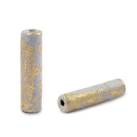 Grieks keramiek DQ gold spot tube Grey  per stuk