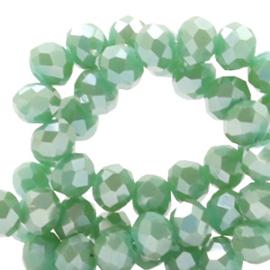 Facet kralen top quality disc 4x3 mm Ocean green-top shine coating 51568 10 stuks