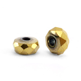Kralen van hematite disc facet  Gold 10 st 63185