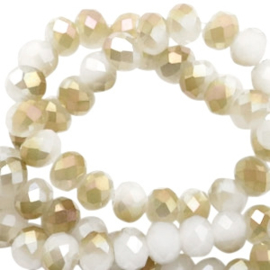 Facet kralen top quality disc 6x4 mm White-half champagne pearl high shine coating 46790 10 st.