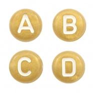 Acryl letterkralen mix Goud-wit 15 gram (+/_100 stuks)