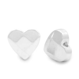 Kralen van hematite hart facet Silver