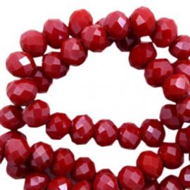 Facet kralen 4x3 mm Disc Siam red Pearl Shine Coating 10 stuks 56426