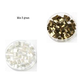 Mix Miyuki tila 5x5 mm - ceylon pearl white / metallic dark bronze 457