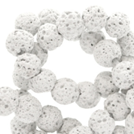 6 mm kralen natuursteen lava matt Grey 49633 25 st.