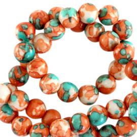 6 mm kralen natuursteen rond jade Orange-turquoise 69577 10 st