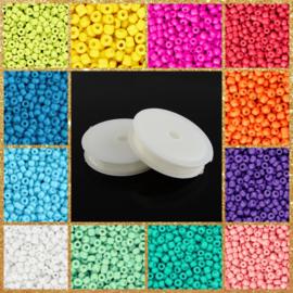 Pakket Rocailles Neon 12 zakjes 10 gram 3 mm + rol rijgdraad