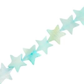 Schelp kralen star Paled turquoise blue 4 st.