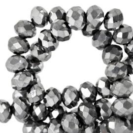 Facet kralen 4x3 mm Disc Grey Metallic Pearl Shine Coating 10 stuks 64208