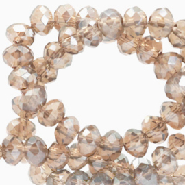 Facet kralen top quality disc 6x4 mm Champagne beige-pearl shine coating 72271 10 st.