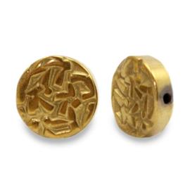 Kralen van hematite plat disc Gold 65650 per stuk